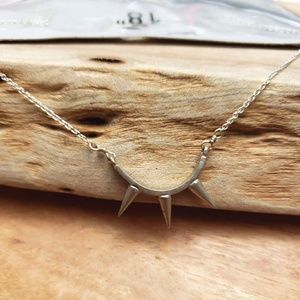 Boho Silver necklace 18""